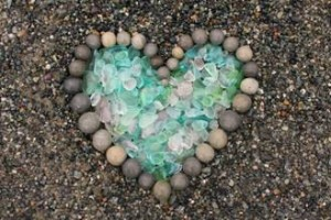 "Jane calls this collection: ""Beach Glass & Stone with Heart Art"""