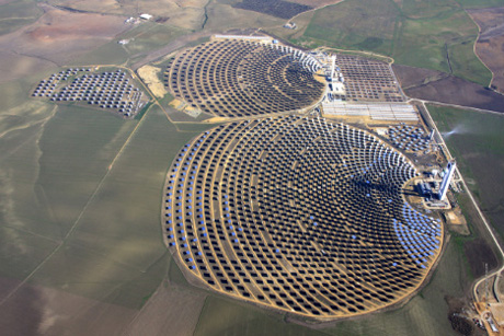 A solar array that provides power for 10,000 houses, in Spain