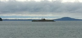 Morse Island, or Battleship Island, from this angle. Photo by Howie...