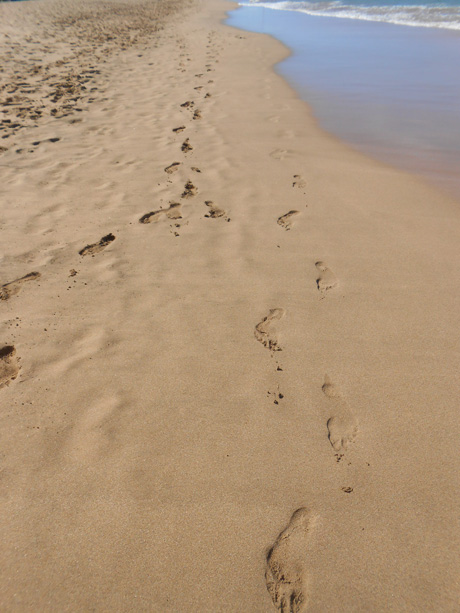 We left nothing but footprints in the warm Maui sand....