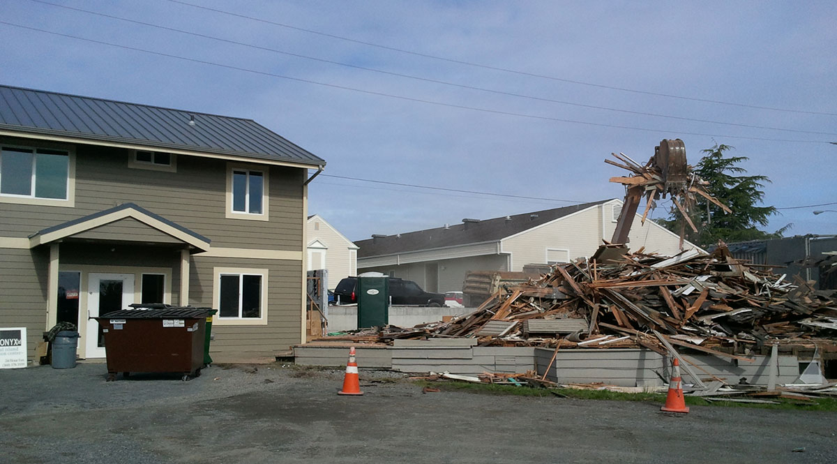 The new Printonyx building on the left, and a pile of rubble that was the old building on the right - Kevin Holmes photo