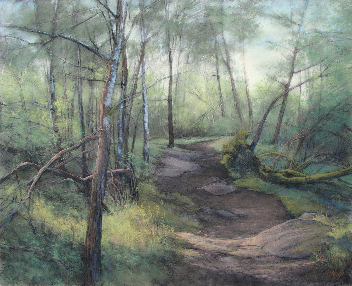 Trail to English Camp, pastel by Leslie Cain, 39 x 48