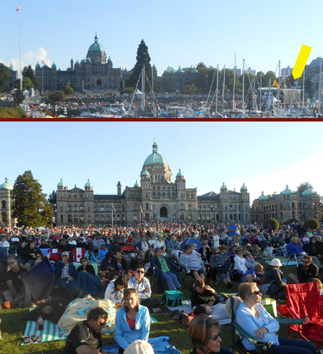 Kinda like Canada Day, BC Day (which was a three day weekend, last week) includes lots of music downtown, including the Victoria Symphony playing on a barge (yellow arrow) in the harbour for people on the Empress' lawn & the grass in front of Parliament...the fireworks at the end shook our windows, a mile away from the water.
