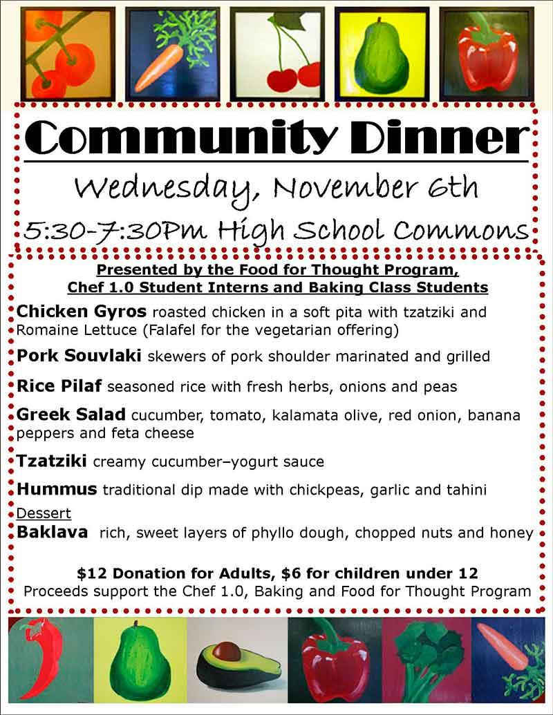 November's Community Dinner Menu - Click for larger version