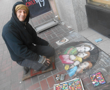 In Victoria, we've gotten to know some of the coolest people in the streets - we'd seen his chalk sidewalk drawings for the past few years, and now have finally met Ian, the guy who creates such amazing work...photo by Ian Byington.