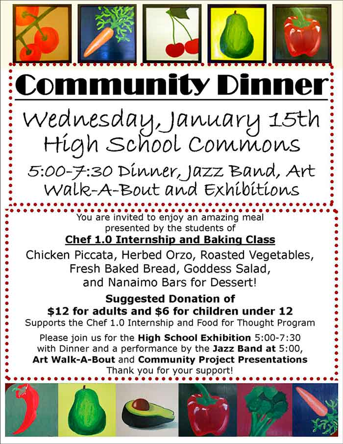 Community Dinner Menu Poster - Click for larger image