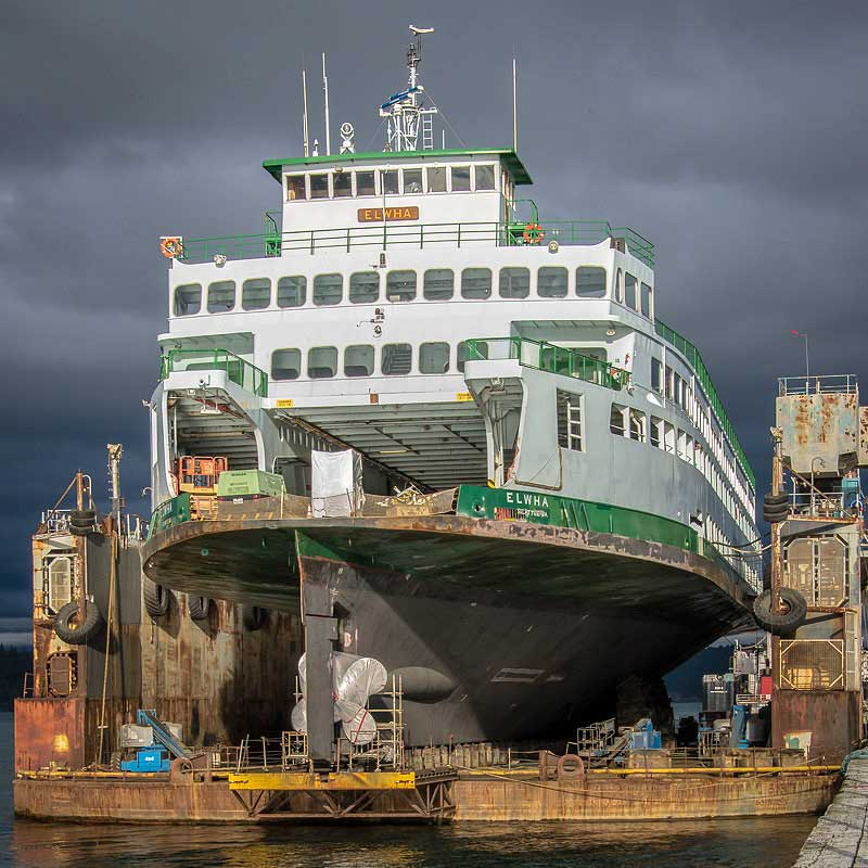 M/V Elwha in Drydock - Click for larger image - Aaron Shepard photo