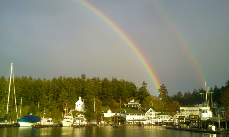 Rainbow over Roche Harbor - Click for larger view - Kevin Holmes photo