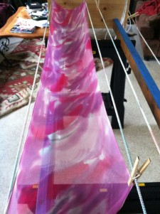 One of Janie's freshly painted scarves - Click to enlarge - Janie Ogle photo