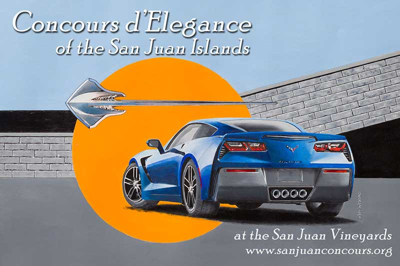 The 2014 event poster - a Corvette Stingray  painted by local artist Ary Hobbel - Click to enlarge