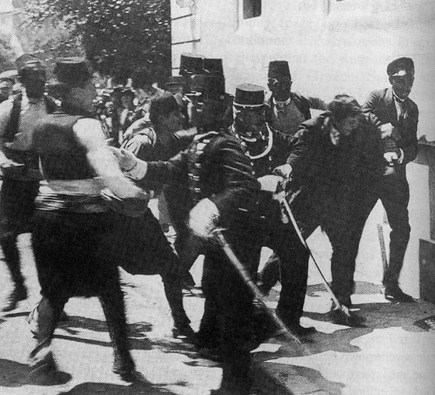 The Archduke's assassin, Gavrilo Princip, is apprehended - Click to enlarge - Contributed photo