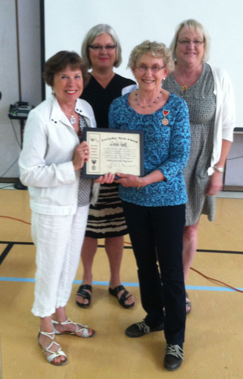 Nancy Fusare, Kiwanis Secretary, hands Connie her award along with Kiwanis President, Stephanie Johnson-O'day and memberLisa Anderson - Contributed photo