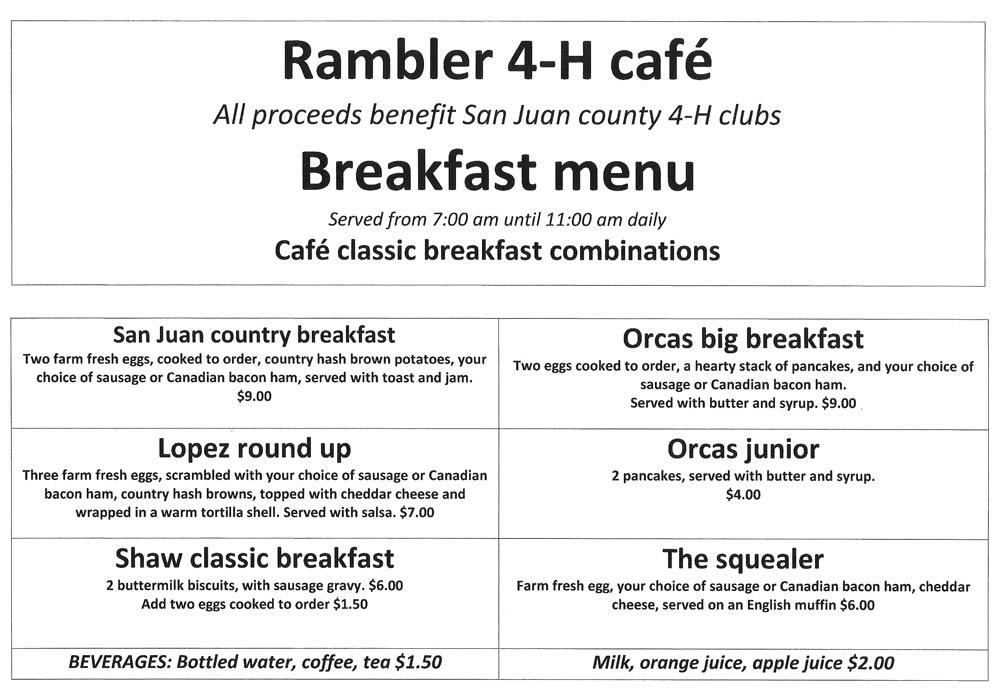 Rambler's Cafe Menu