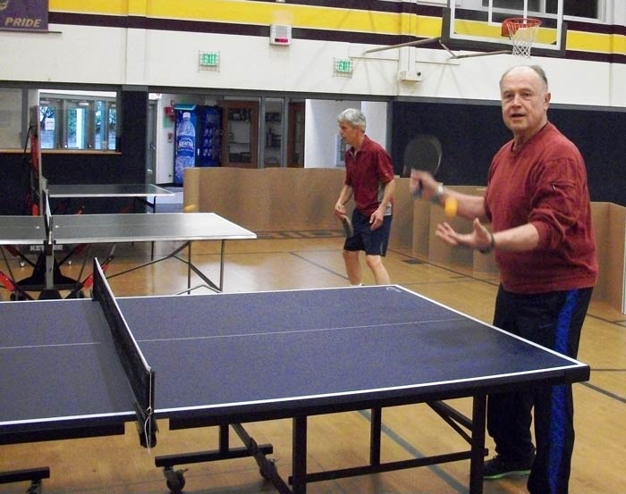 Larry Wight and Bud Bolin dropped in for some indoor sports - Contributed photo