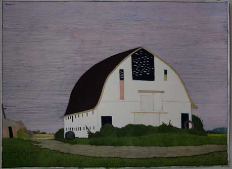 White Barn - Watercolor by Art Hansen