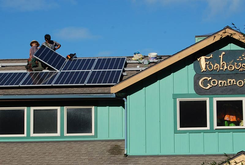 Solar panels being installed on the Funhouse Roof - Contributed photo