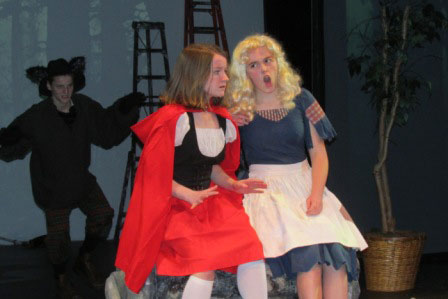 Luke Waite as the Wolf, Joely Loucks as Red Riding Hood and Lucy Urbach as Goldilocks - Contributed photo