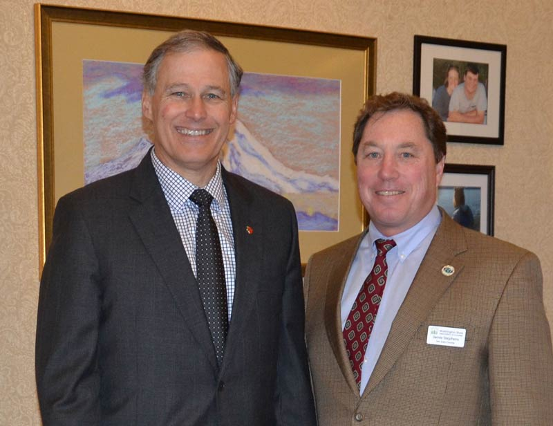Governor Jay Inslee and SJC Council Member Jaime Stephens - Contributed photo