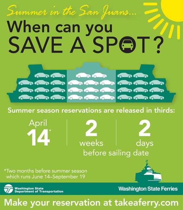 Ferry reservations for summer season begin April 14