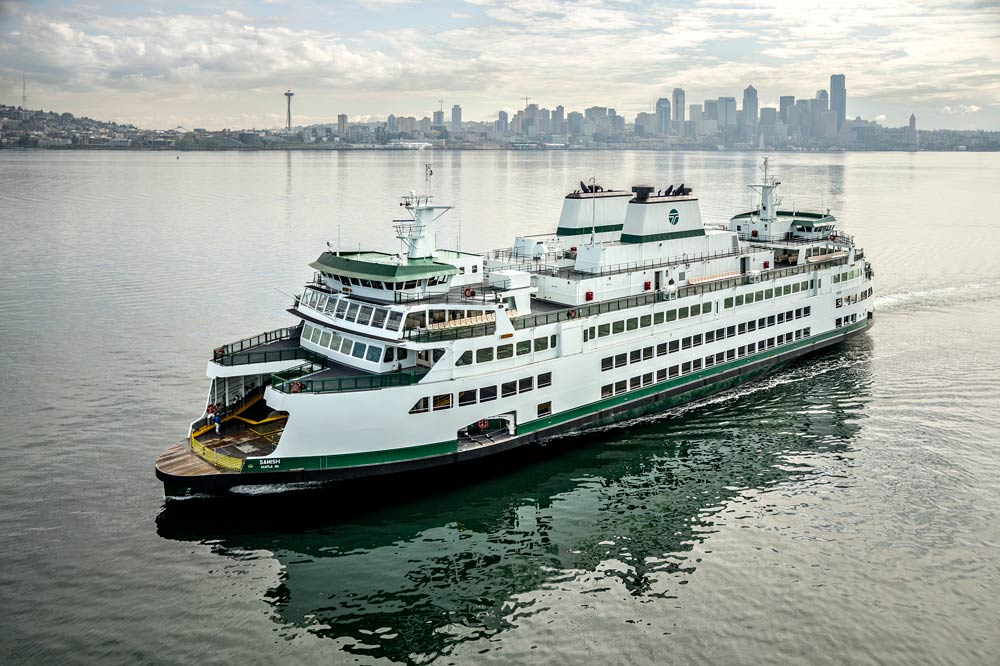The M/V Samish - the brand new Olympic Class, 144 car ferry that will join the San Juans fleet this summer - WSF photo