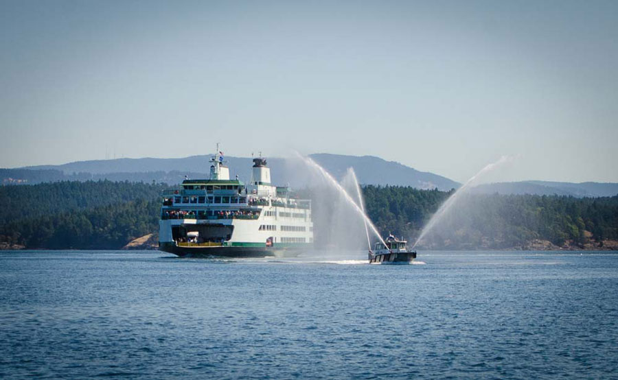 """M/V Samish enters the harbor with """"Sentinel"""" escorting - Tim Dustrude photo"""