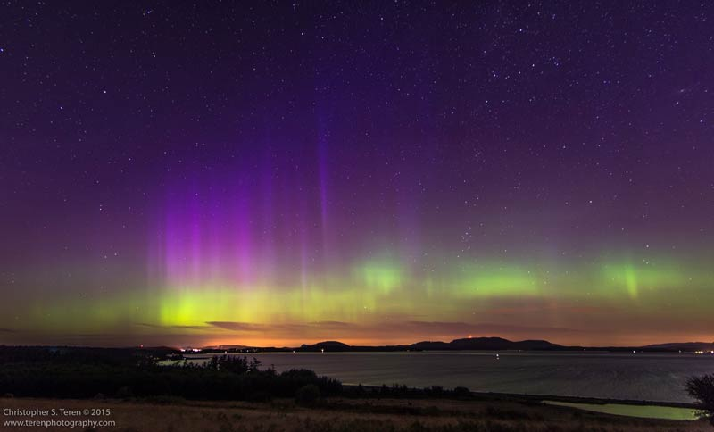 One of the still images of the Aurora Borealis (Northern Lights) over the San Juan Islands, June 23, 2015 - Chris Teren photo