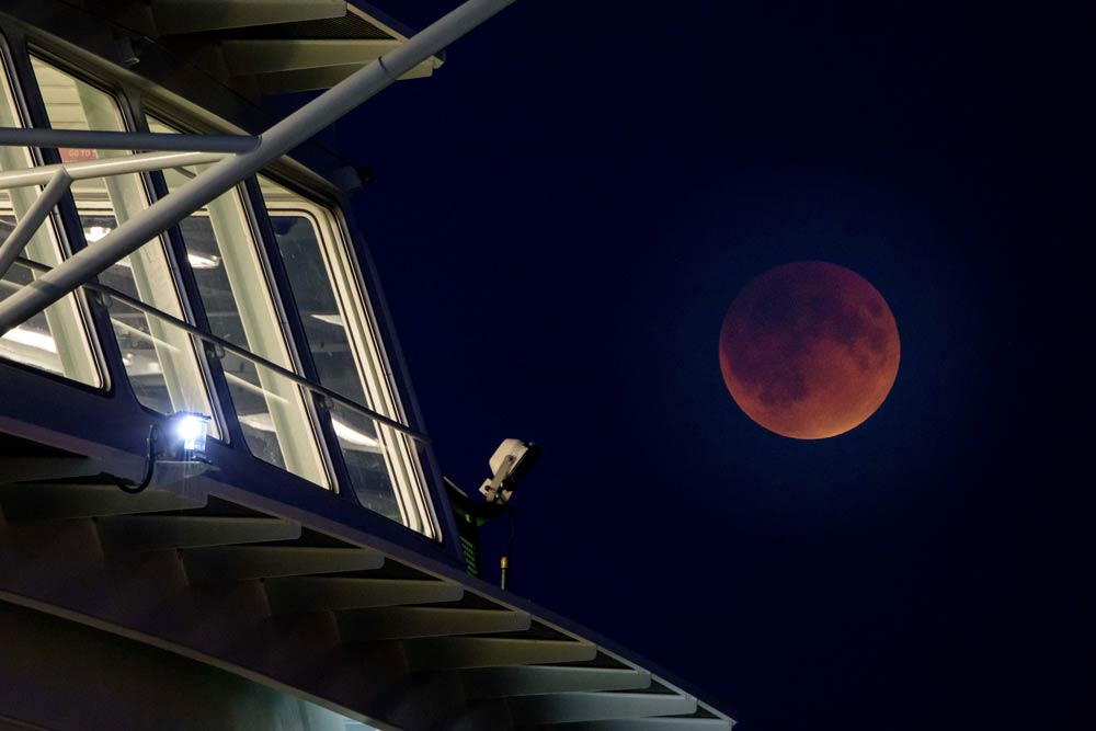Blood Moon and M/V Samish - Aaron Shepard photo