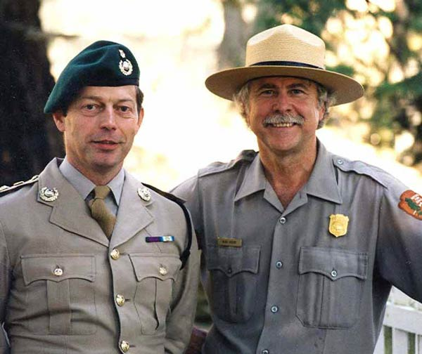 Lt. Col. Hank De Jager of the Royal Marines and Park Ranger Mike at the Royal Marine Cemetery during the dedication of the English Camp flagpole in 1998 - Contributed photo