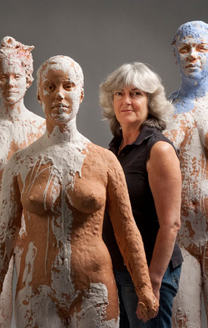 Kathy Venter and sculptures - Contributed photo