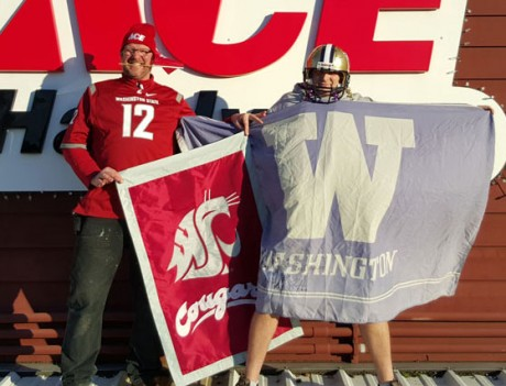 Donny Galt, the Cougar fan, and Mike Martin the Husky fan - Contributed photo