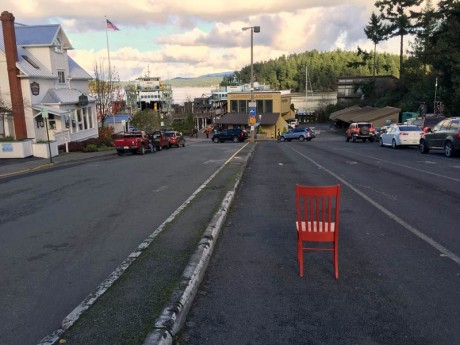 The Traveling Red Chair in line for the ferry - Contributed photo
