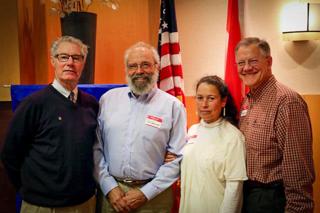 "L to R:  Jonathan Piff Rotary Club President , Jim Corenman of Car Club,  Mariluz Villa of Hospice, Curt Van Hyning of ""RoundTowner. Photo: Ted Strutz"