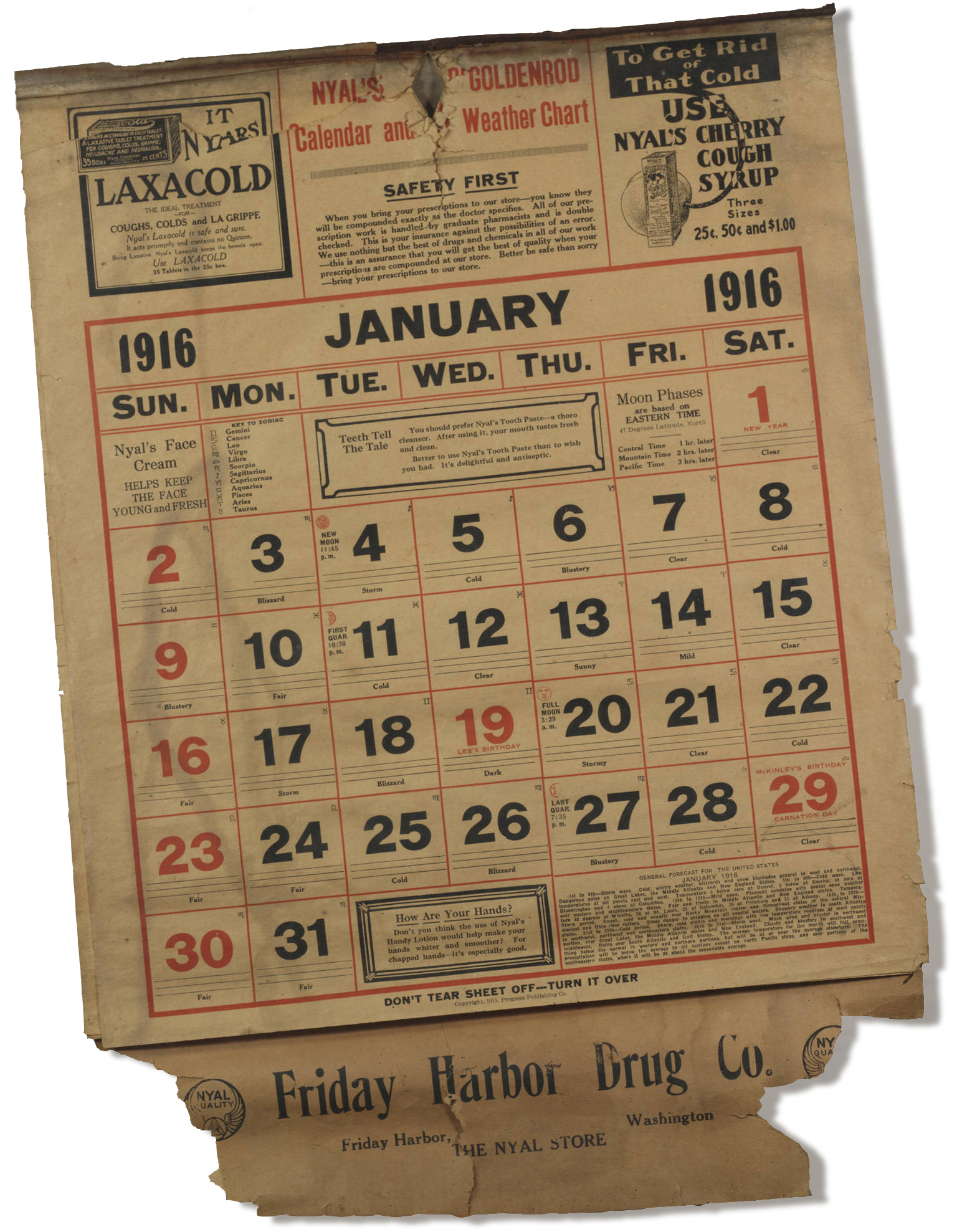 1916 Calendar - Courtesy of the San Juan Historical Society & Museum