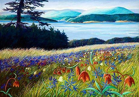 American Camp with Camas and Chocolate Lillies - Nancy Spaulding pastel