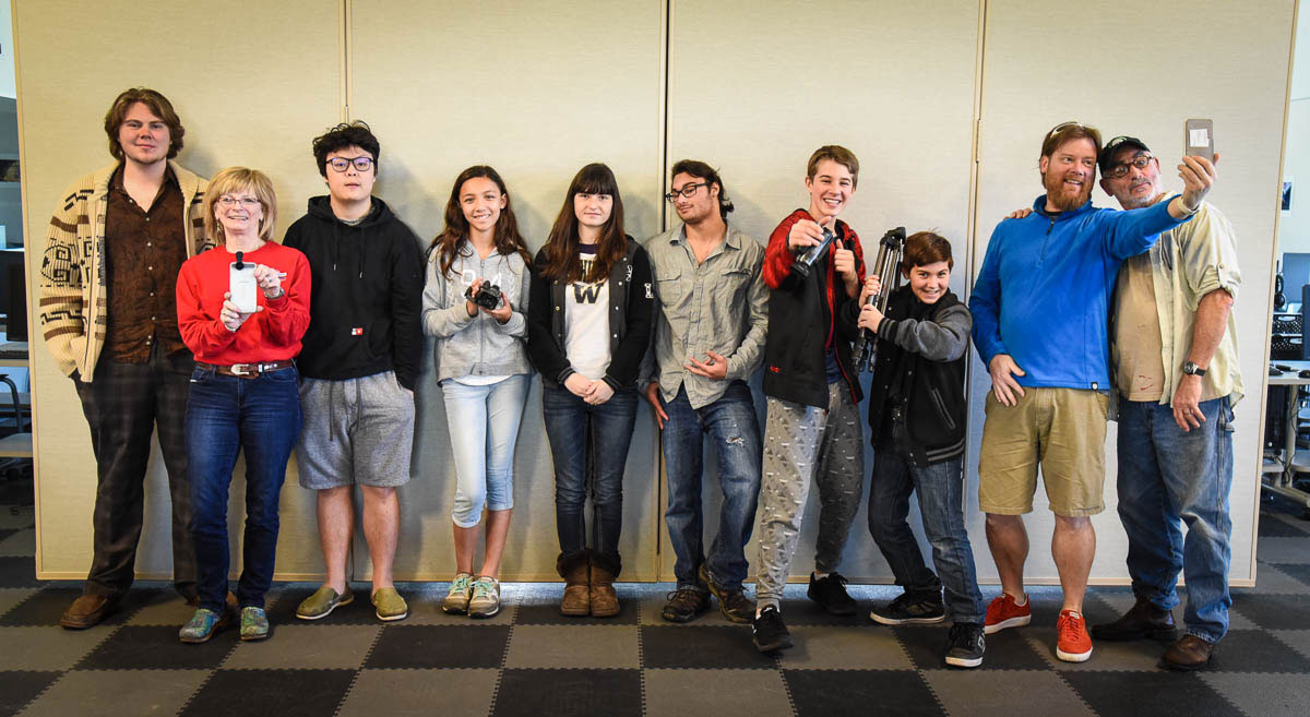 Left to right: Connor Von Kuetzing, mentor; Karen Palmer, Friday Harbor Film Festival, Kendrick Dong, Sage Grant, Gemma Richard, Robby Miller, Coulson McCullough, Leo Miller, Derek Smith, STEM Director and Fred Yockers, Spring Street Instructor (not pictured: Tawan Edholm, Julian Rich, Wesley Rich and Alex Frampton) – Tim Dustrude photo