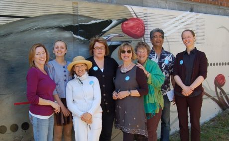 Left to right: Julie Green, Town of Friday Harbor Arts Commission Coordinator with commission members: Fiona Small, Susan Williams, Diane Martindale, Debbie Pigman, Lori Stokes, Farhad Ghatan and Megan Kilpatrick-Boe Keith Busha photo