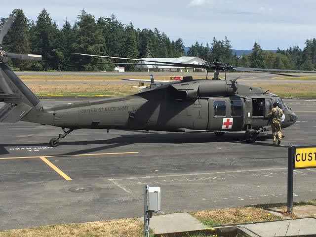 Blackhawk helicopter delivering emergency supplies in mock earthquake drill - Contributed photo