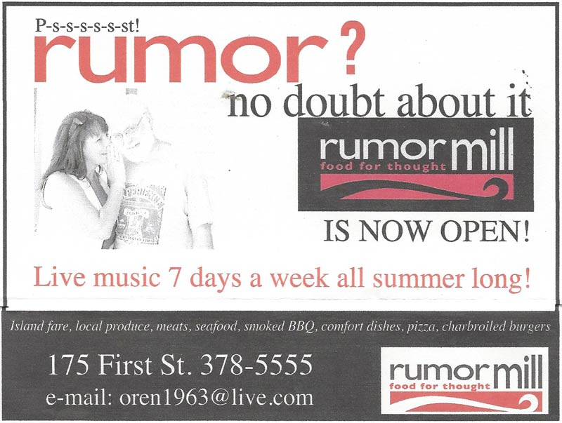 From the way-back machine... a newspaper ad for the Rumor Mill way back in 2010