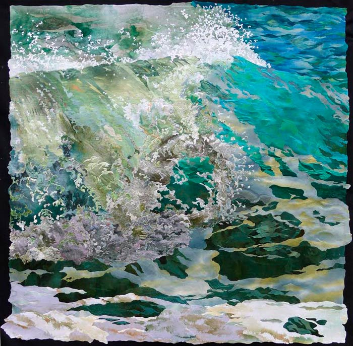 "Breaking Wave - 41"" x 41"" - Textile Wall Art by Amanda Richardson"