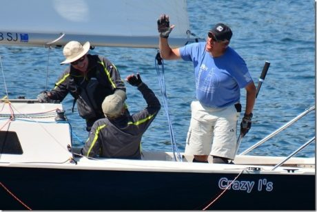 Crazy I High Fives at Finish -  Bill Waxman Photo