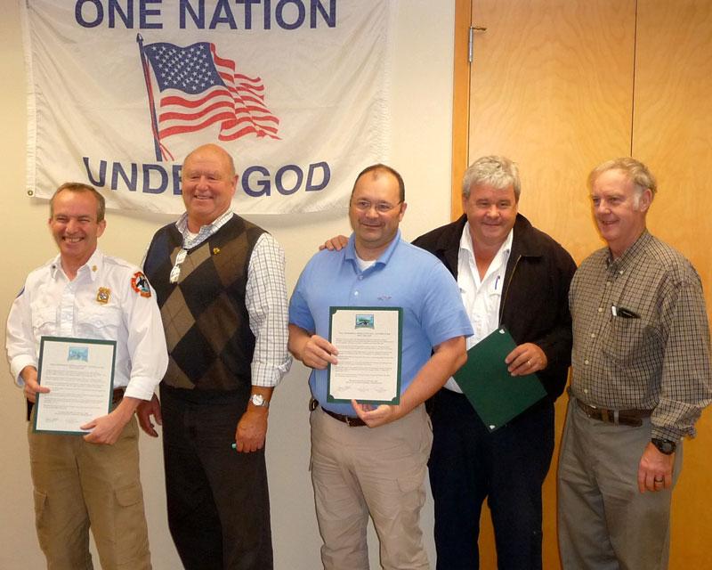 """First Responders"":  Fire Chief Brad Creasy, County Councilman Bob Jarman, Sheriff Ron Krebbs, EMS Chief Jerry Martin, and FH Grange Program Chairman - Contributed photo"
