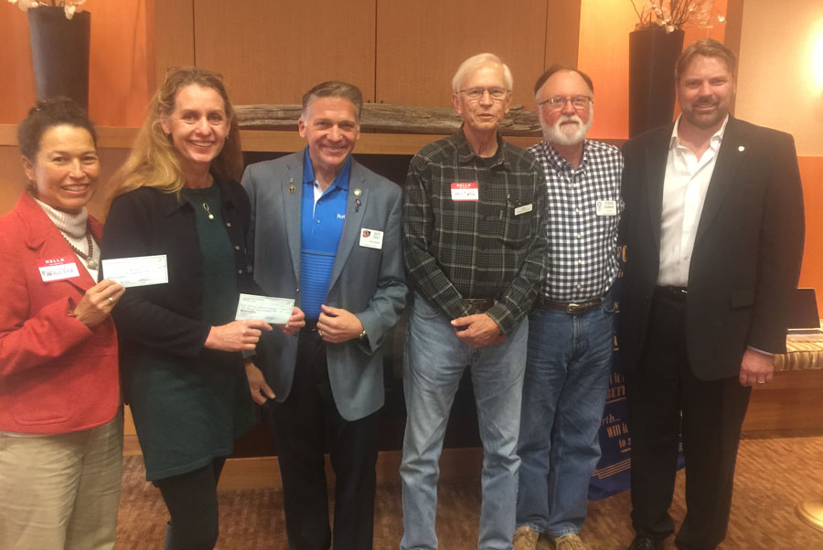 Left to right: Mariluz Villa of Hospice, Jennifer Armstrong of Family Resource Center, Scott Dudley Rotary District Governor, Chris Curtin of Car Club, Rotarians Steve Bowman and Thomas Sandstrom -Carla Wright photo