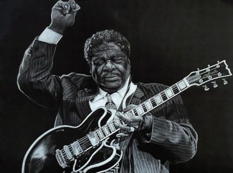 BB King, a drawing by Alaina Scheffer, past scholarship recipient