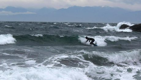 Local Liam Corey takes the waves at Eagle Cove, last Sunday-Photo credit: Dan Burton