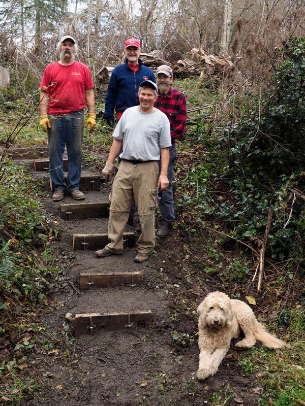 Steve Ulvi, Dick Coffey, Dave Zeretzke, and Allen Rosenberg with Gus-Gus, Mike Lazzari's dog (Photo by Mike Lazzari)